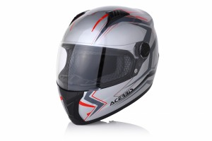 HELMET FULL FACE FS-807 - SILVER/RED