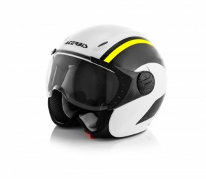 K-JET ON BIKE HELMET - WHITE/FLO YELLOW