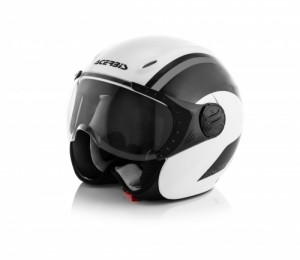 K-JET ON BIKE HELMET - WHITE/GREY