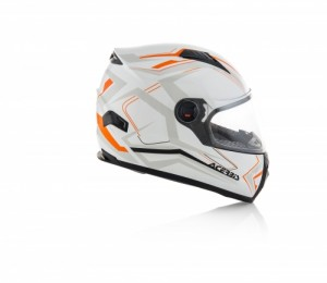 HELMET FULL FACE FS-807 - WHITE/ORANGE