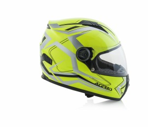 HELMET FULL FACE FS-807 - FLO YELLOW/GREY