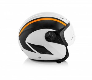 K-JET ON BIKE HELMET - WHITE/FLO ORANGE
