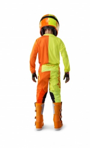 MX ECPLISE KID PANTS - FLO YELLOW/ORANGE